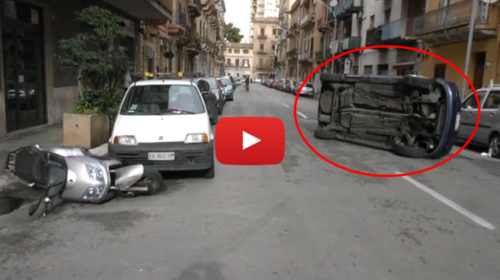 Palermo, auto si ribalta: ferito il conducente |IL VIDEO