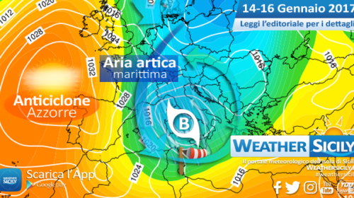 Sicilia: si apre un periodo freddo, piovoso e localmente nevoso