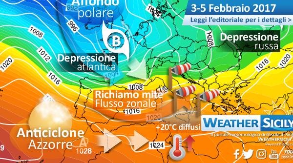 Si sveglia l'Atlantico: weekend ventoso e mite in Sicilia. Attesi valori oltre i +20°C