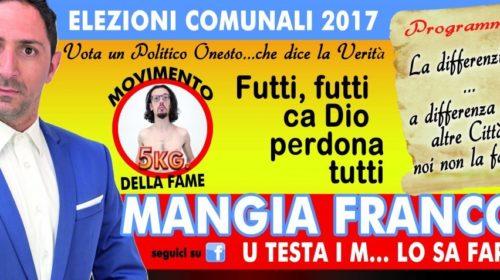 """""""Vota Mangia Franco"""", i manifesti del candidato fake che prende in giro quelli veri"""