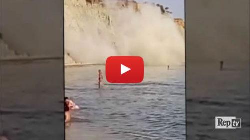 Agrigento: il crollo della falesia sulla spiaggia |IL VIDEO da paura