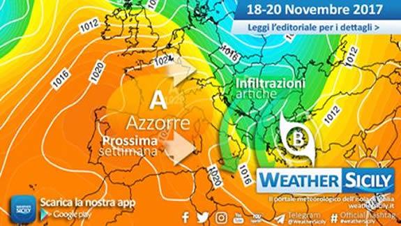 Sicilia, variabilità sabato. Infiltrazioni artiche tra domenica e lunedì
