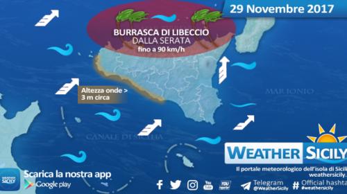 Sicilia, forti venti di Libeccio mercoledì. Intensità di burrasca dalla serata sul settore tirrenico