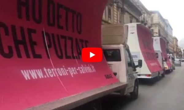 I furgoni anti-Salvini per le strade di Palermo 🎥 VIDEO