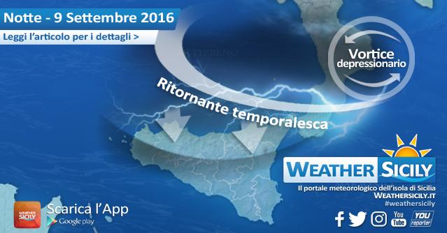 Sicilia, ancora maltempo! Ritornante temporalesca nelle prossime ore sul settore tirrenico