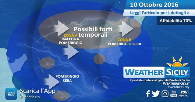 Sicilia: possibili forti e veloci temporali sul settore settentrionale nella giornata di domani