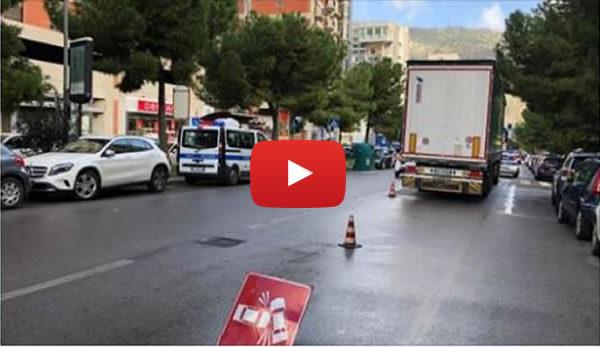 Palermo, donna investita da un camion sulle strisce pedonali: le immagini dal luogo dell'incidente – VIDEO 🎥