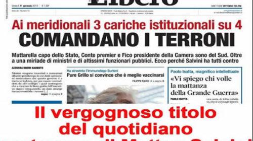 """""""Comandano i terroni"""", polemica per il titolo di Libero. Orlando attacca: """"Quotidiano portavoce di Salvini…"""" – FOTO"""