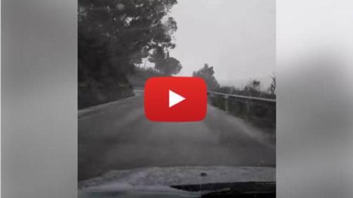 Precipitazioni nevose in atto nell'entroterra del palermitano, situazione LIVE a Ciminna – VIDEO