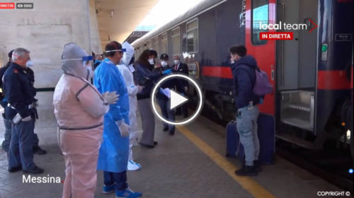Controlli sanitari e identificazioni alla stazione di Messina dove è arrivato un treno dal Nord | VIDEO 📹