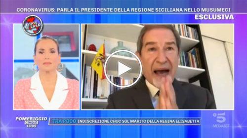 """Coronavirus, l'appello disperato di Musumeci in diretta da Barbara D'Urso: """"Non arriva nulla!""""   VIDEO 📺"""