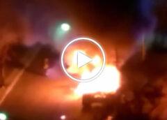 In fiamme un grosso Tir nella zona della Fiera, intervento dei pompieri – VIDEO