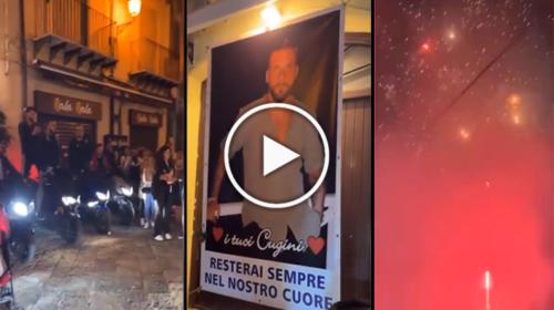 Fuochi d'artificio e rombi di motore alla Vucciria: l'ultimo saluto ad Emanuele – VIDEO