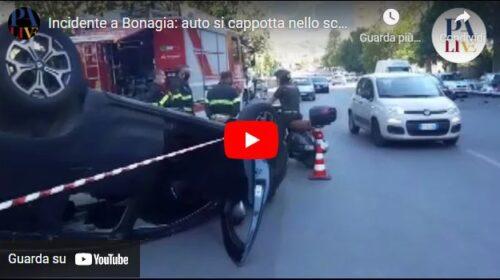 Palermo, incidente in via Placido Rizzotto: auto si ribalta – VIDEO