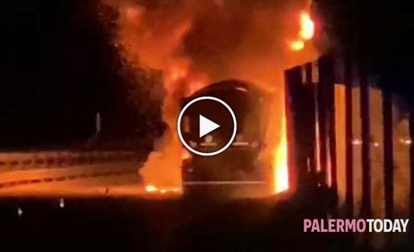 Incendio in autostrada, tir divorato dalle fiamme tra Scillato e Tremonzelli  – IL VIDEO