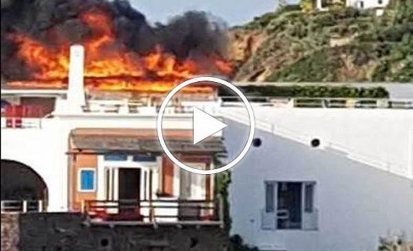 Hotel a fuoco a Panarea, incendio spento grazie a Vigile del fuoco coraggioso – VIDEO