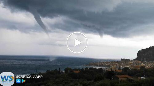 Tromba marina si forma davanti il golfo di Cefalù (Pa): le immagini – VIDEO