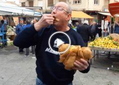 Street food esagerato: soltanto a Ballarò il cornetto salato si fa con la frittola – VIDEO